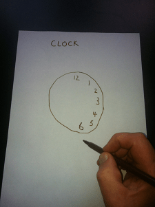 To begin the demenia clock test ask the person to draw a clock face