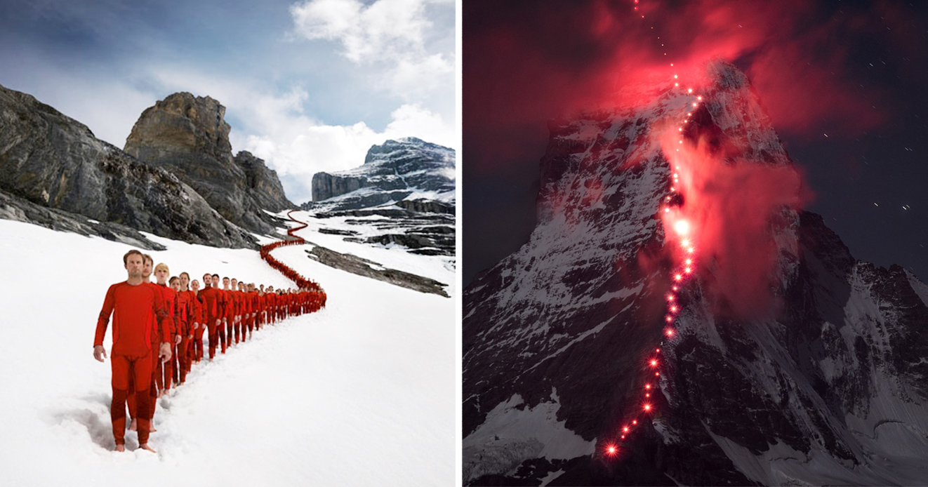 Animals In Suits Wallpaper Hundreds Of Climbers Scaled The Swiss Alps For Epic Photoshoot