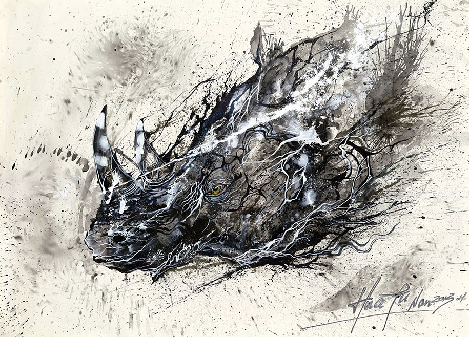 How To Fix Falling Wallpaper Splattered Ink Animal Paintings By Chinese Artist Hua Tunan
