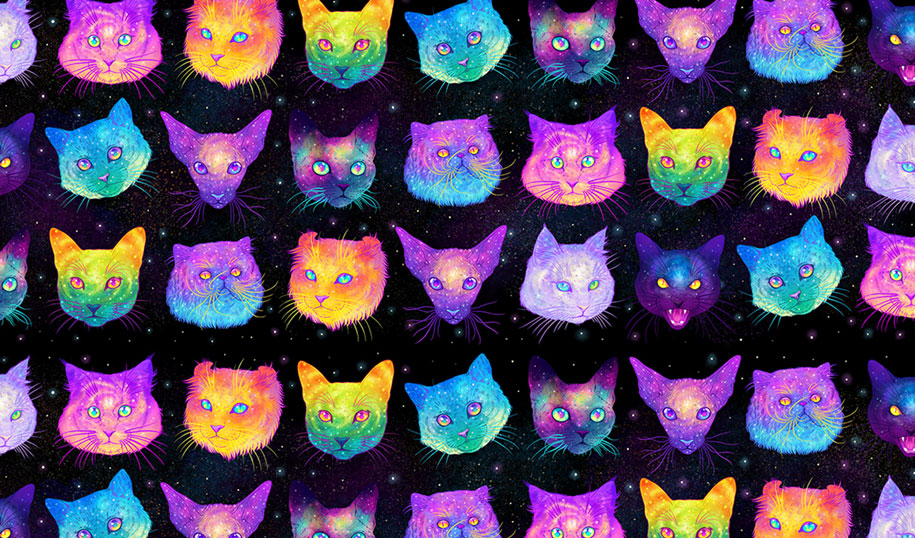 Cute Couple Emo Wallpapers Galactic Cats Psychedelic Illustrations Merge Cats And Space