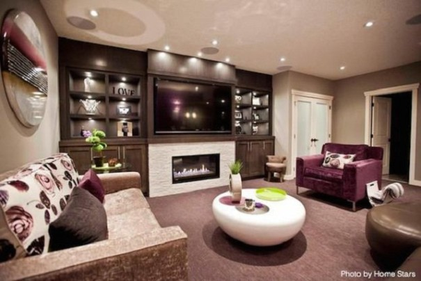 Basement remodel with bold colors