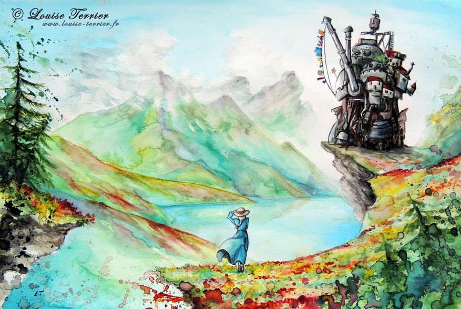 Paint Falling Wallpaper Studio Ghibli Characters Redrawn In Watercolor Paintings