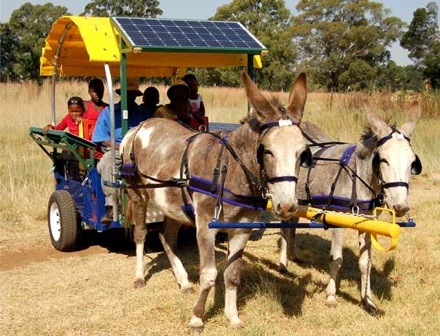 social innovation solar panels donkey car