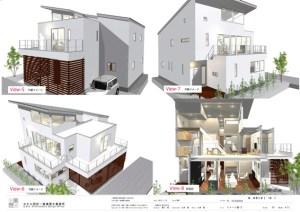 デザイン住宅の外観-中庭と前庭のある二世帯住宅