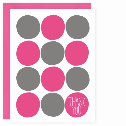 pink + gray dots thank you card