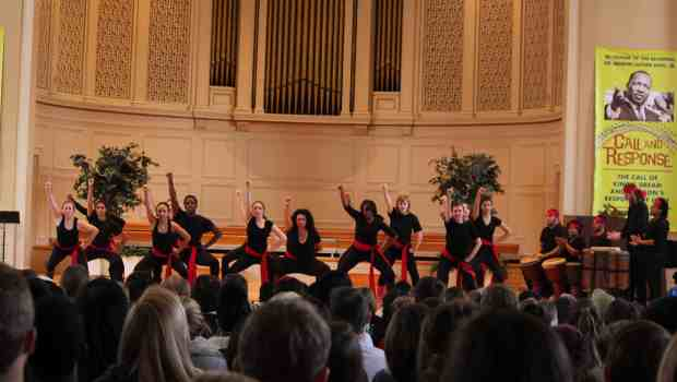 "Students perform a traditional South African Boot Dance choreographed by Stafford Berry Jr. at the Martin Luther King Jr. ""Call to Critical Thinking"" in Swasey Chapel. Photo credit: Shivani Mithbaokar/ The Denisonian"
