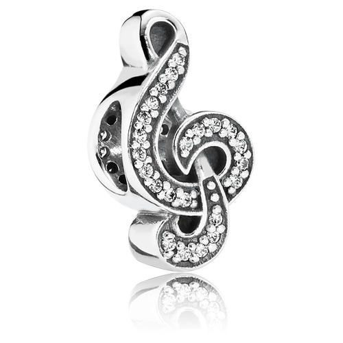 PANDORA Sweet Music Treble Clef Charm  Gems with Sterling Silver