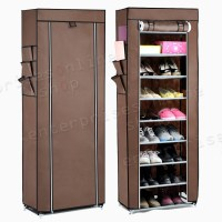 10 TIER CANVAS FABRIC SHOE RACK STORAGE CABINET ORGANISER ...