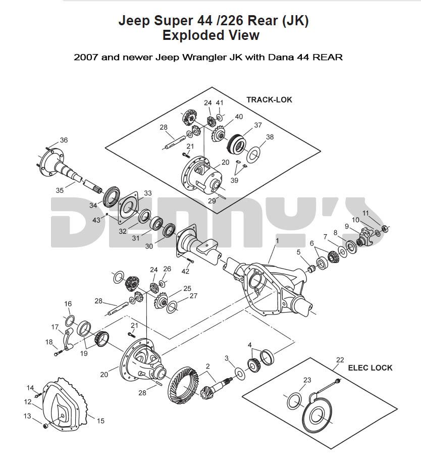 Jeep \u003e REAR AXLE DIFF PARTS \u003e DANA 44 REAR - JEEP JK 2007 to 2016