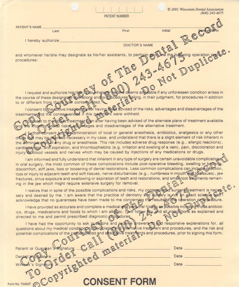 Consent Form - dental consent form