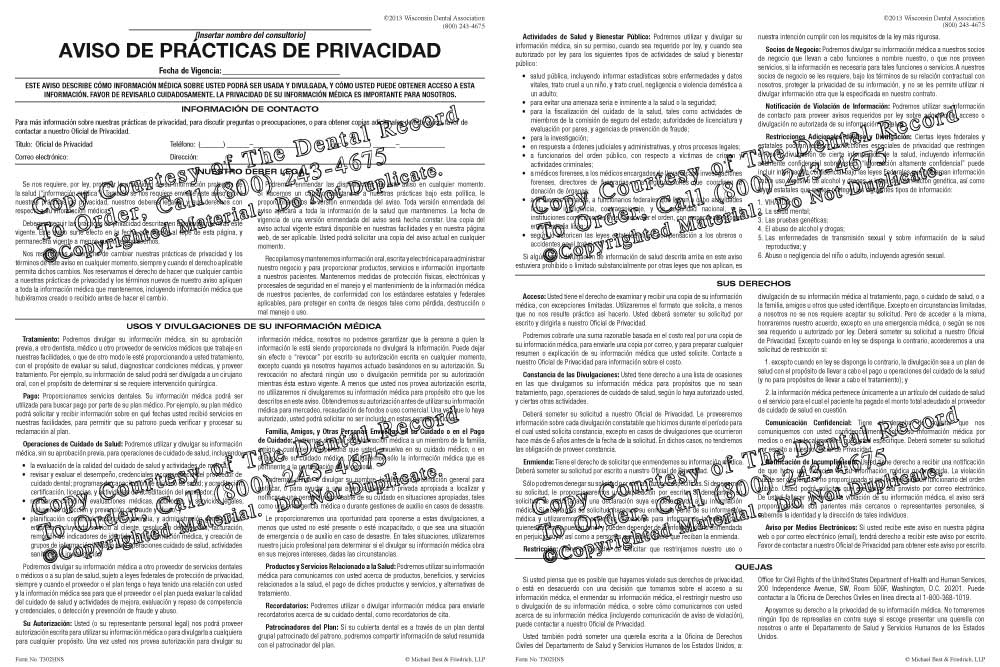 Spanish HIPAA Notice of Privacy Practices - hipaa form