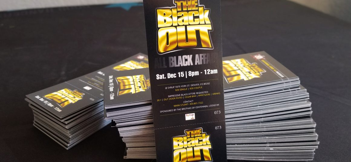 Numbered Tickets - \u0027The Black Out\u0027 event - Denver Printing Company