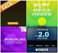 4 square web advertising templates psd layered material ...