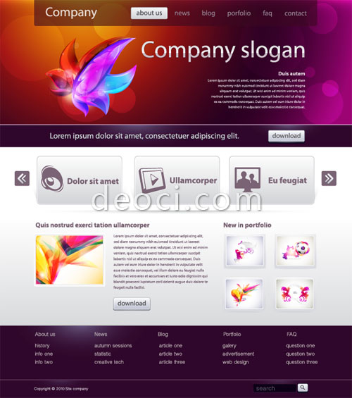 European and American style website design template vector file for - template free download