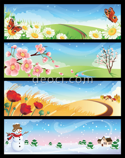 Cartoon illustration of the four seasons spring, summer, autumn and