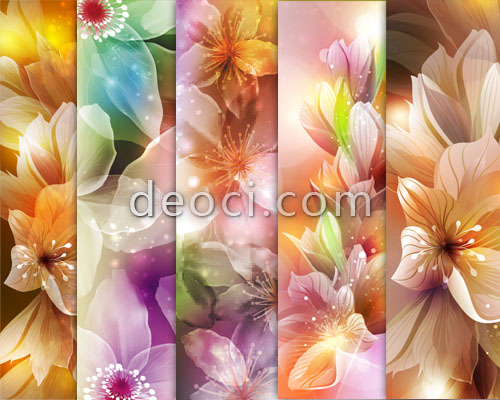 5 gorgeous flower poster graphic design of the banner background