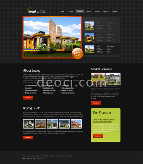 HTML5 CSS3 real houses for sale in the corporate web site design
