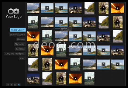 Flash photo album of pictures, audio, video showcase website design - photo album templates free