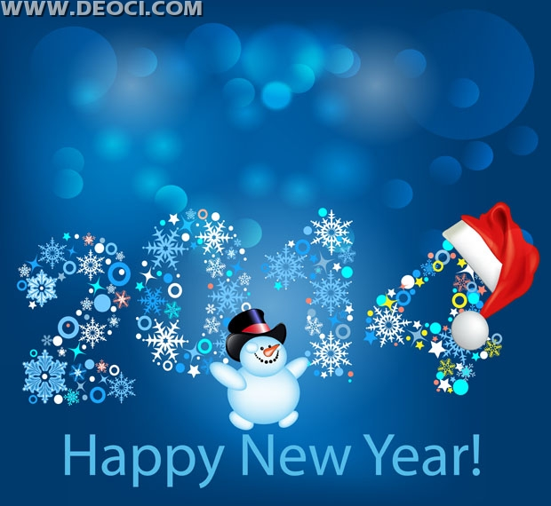 2014 Christmas and New Year greeting card design template material