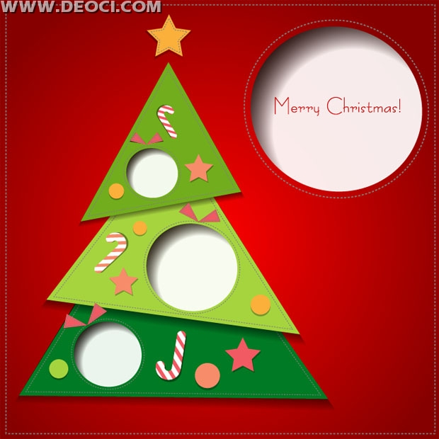 Christmas greeting card design template vector 2014 paper-cut