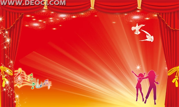Festive red curtain background design template PSD material download