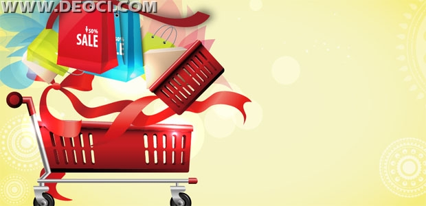 Vector ribbons shopping cart bags mall advertising poster design