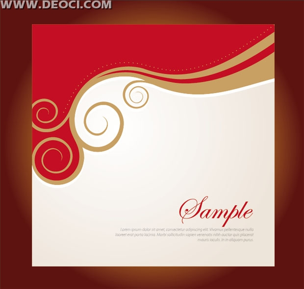 Vector red floral background design company album cover template EPS - free pamphlet design