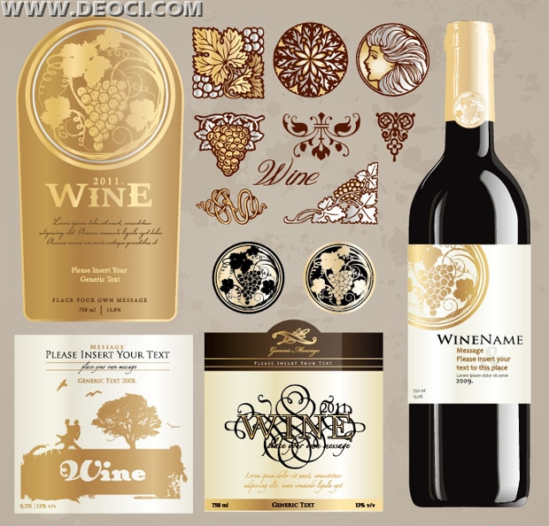 Vintage wine label collection bottle packaging design template