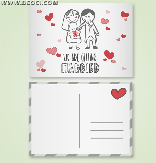 Romantic cartoon wedding invitation card design template - DEOCI
