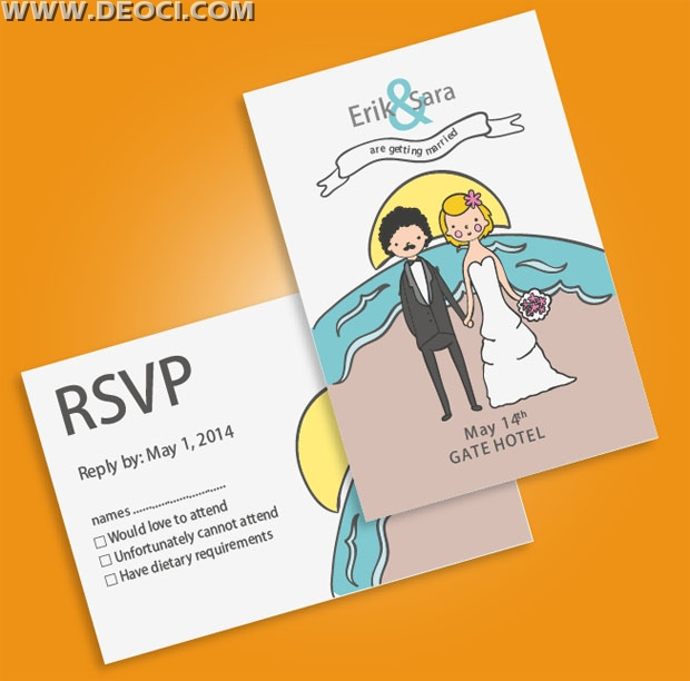 Wedding invitation postcards vector design template free download