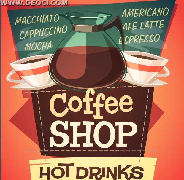 Creative Café poster design template EPS free download - DEOCI