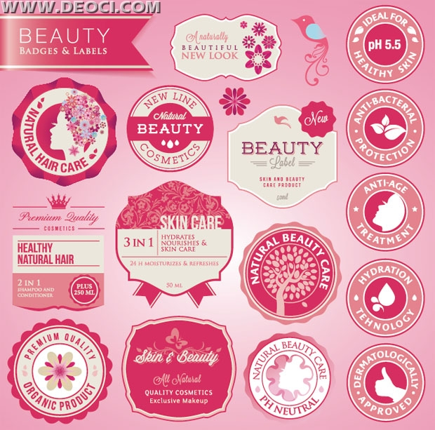 Beauty brand label design EPS free download - DEOCI Vector