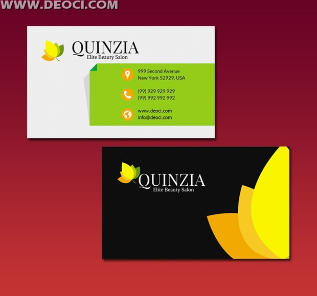 Leaves creative business card design template elements PSD Download