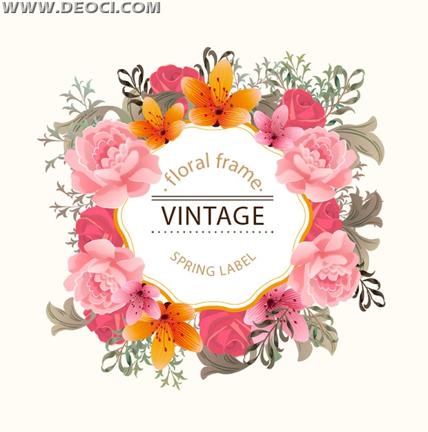 Beautiful spring floral frame label design vector material - DEOCI