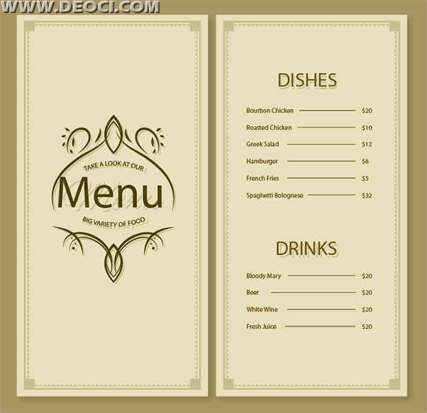 Simple and elegant restaurant menu design template vector material