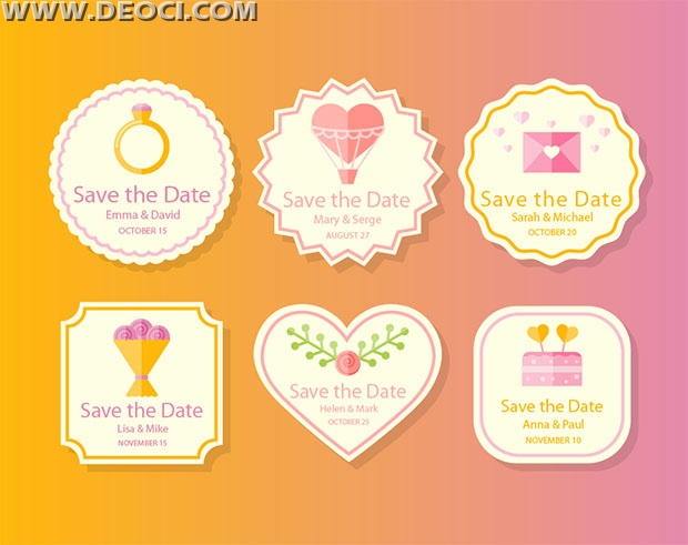 6 exquisite wedding label design Save the Date vector template