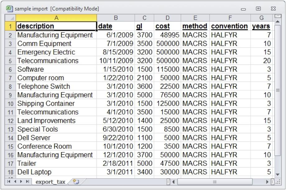 Format Cells in Excel Spreadsheet for Data Import - Depreciation Guru