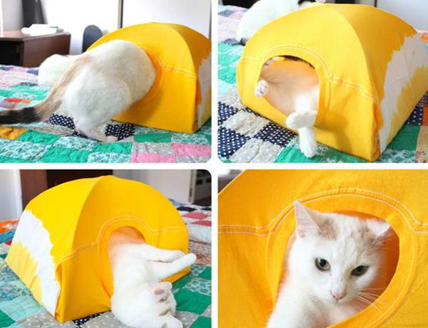 reciclar-camiseta-casa-gato-diy