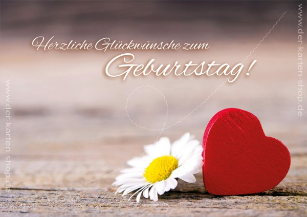 Doppelkarte Geburtstagskarte Herz mit Gänseblümchen \u0027Herzliche