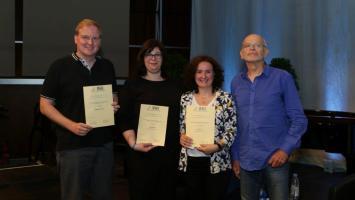 Preisverleihung 2017 (v.r.n.l. Yonca Şık, Ebru Tasdemir, Stefan Schulz, Günter Wallraff)(Foto: DLF/Fürst-Fastré)