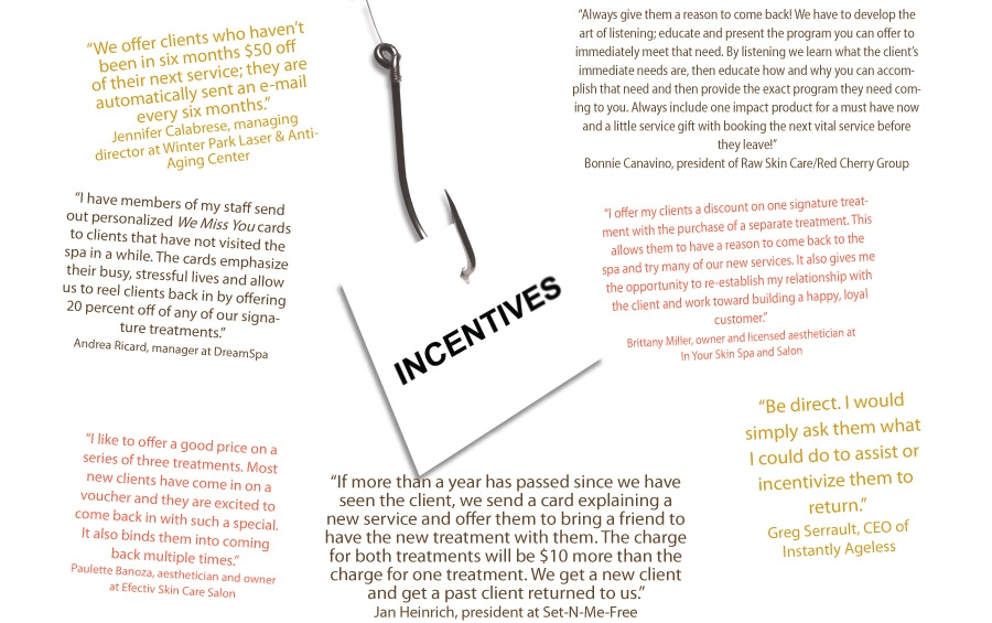 What incentives do you offer past clients for their return to your spa?