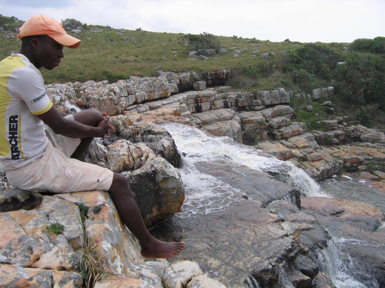 Guide en haut de la cascade