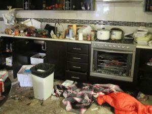 La cocina del apartamento de El Chapo tras el enfrentamiento con el Ejército mexicano.