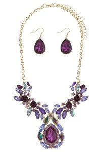 Purple Crystal Necklace & Earrings Set - Necklace Sets ...