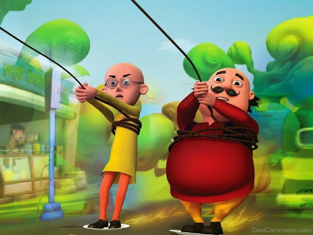 Holi Wallpaper With Quotes In Hindi Motu Patlu Holding Rope Desicomments Com