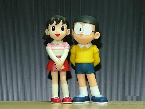 Nobita Shizuka Love Wallpapers With Quotes Nobita Standing With