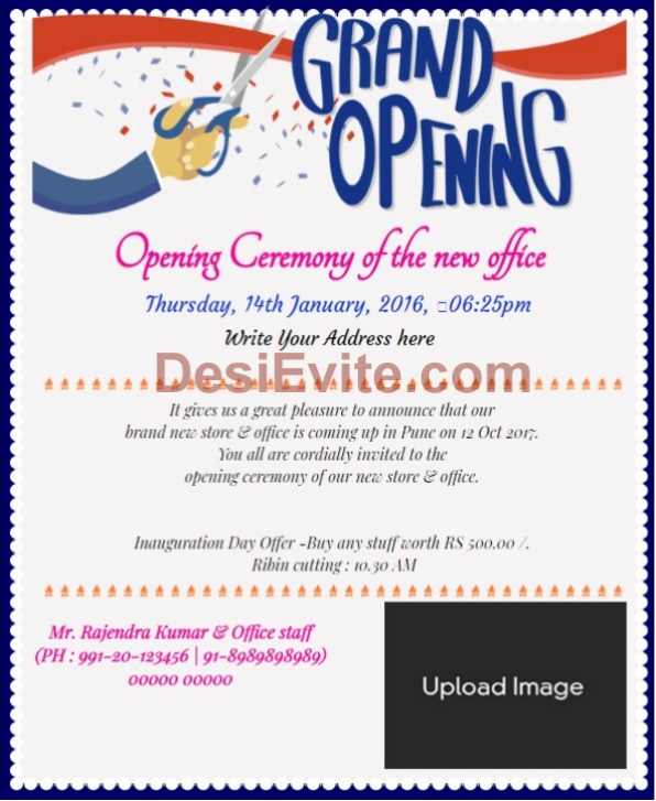 Shop Opening/ Office inauguration invitation Wording