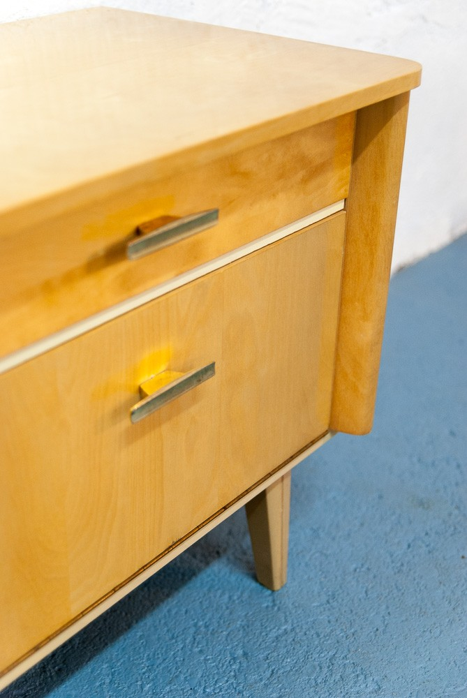 Vintage Bedside Table With Slanted Legs 1960s Design