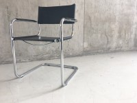 Mid century Italian Bauhaus leather chair with tubular ...