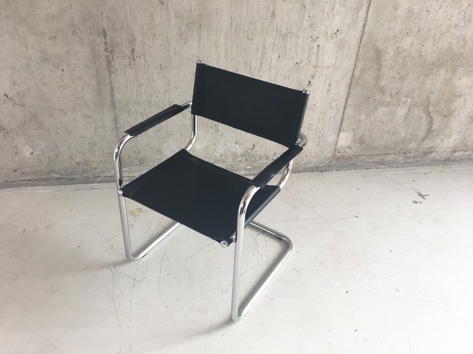 Mid century Italian Bauhaus leather chair with tubular